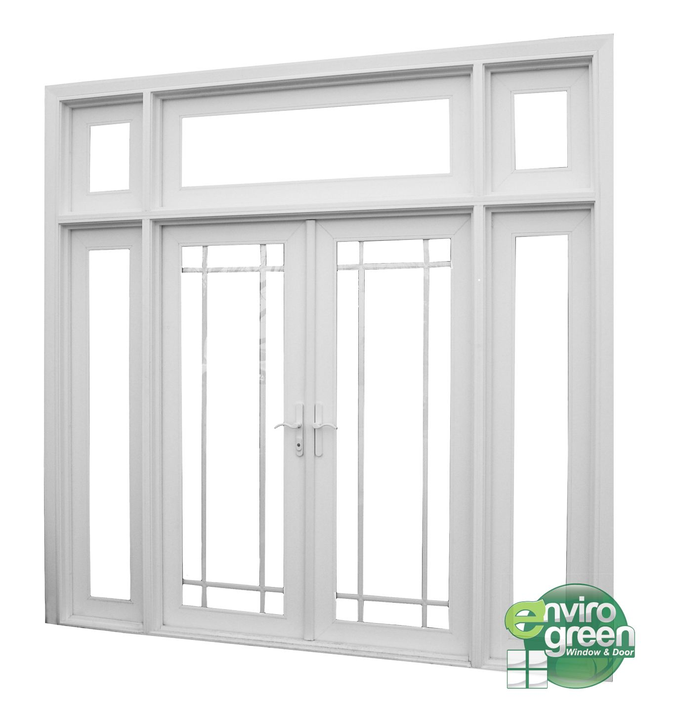 Single patio door with side lights french door envirogreen windows doors duarte for Interior french doors