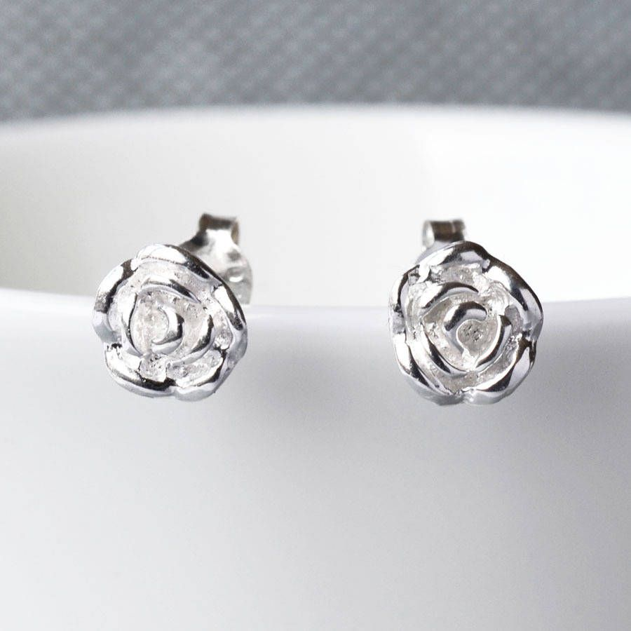 English Rose Silver Stud Earrings from notonthehighstreet.com