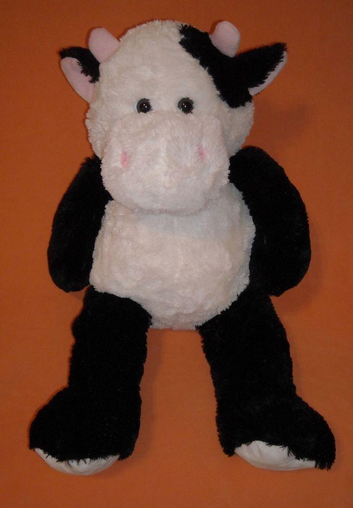 "JUMBO LARGE 29"" black N white FLUFFY floppy COW KELLYTOY"