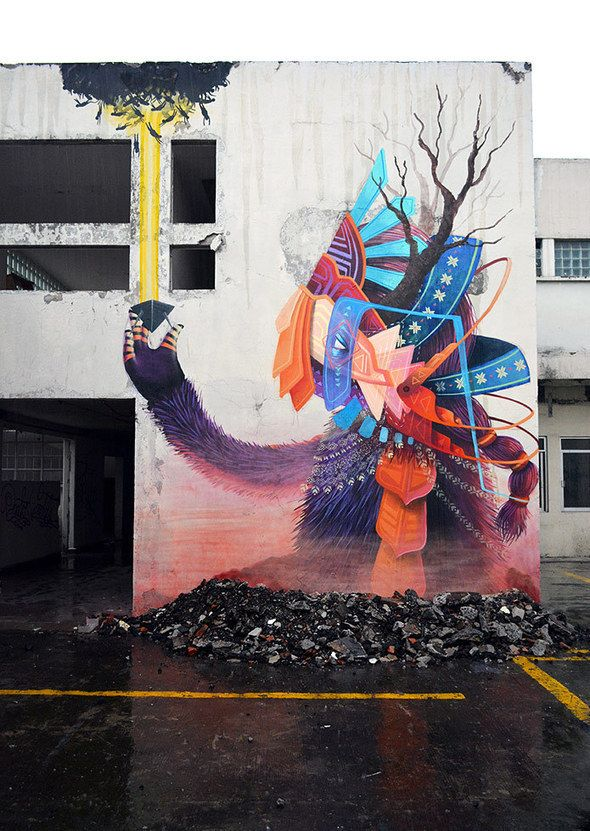By Curiot. Proyecto Fragil - Mexico City http://streetiam1.com/2013/10/15/goldfinchs-birdhouse-darksilenceinsuburbia-curiot-new-mural-for/