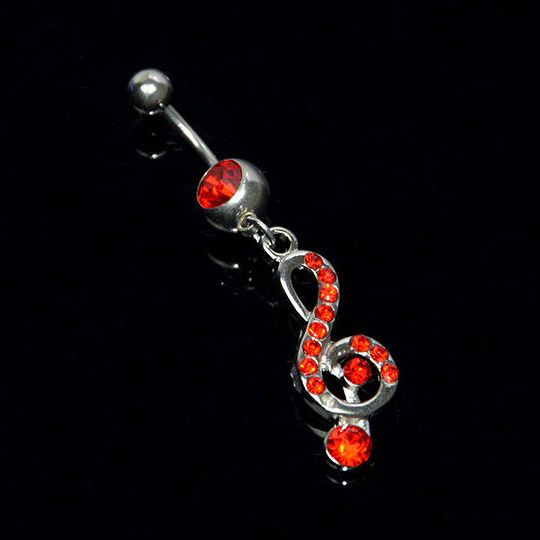 Music belly piercing  Piercing de ombligo con clave de sol