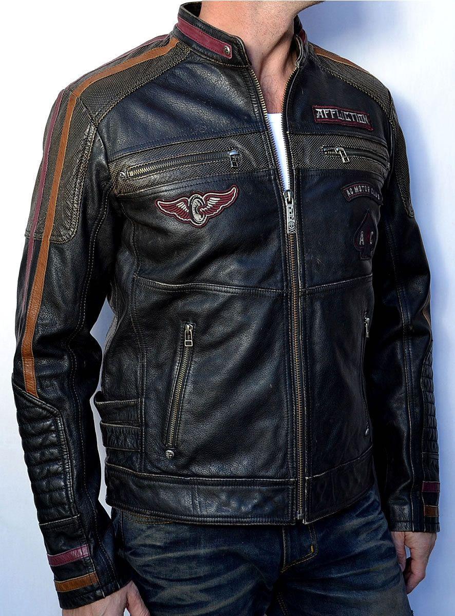 Build For Speed Men's Leather Biker Jacket Black Jackets