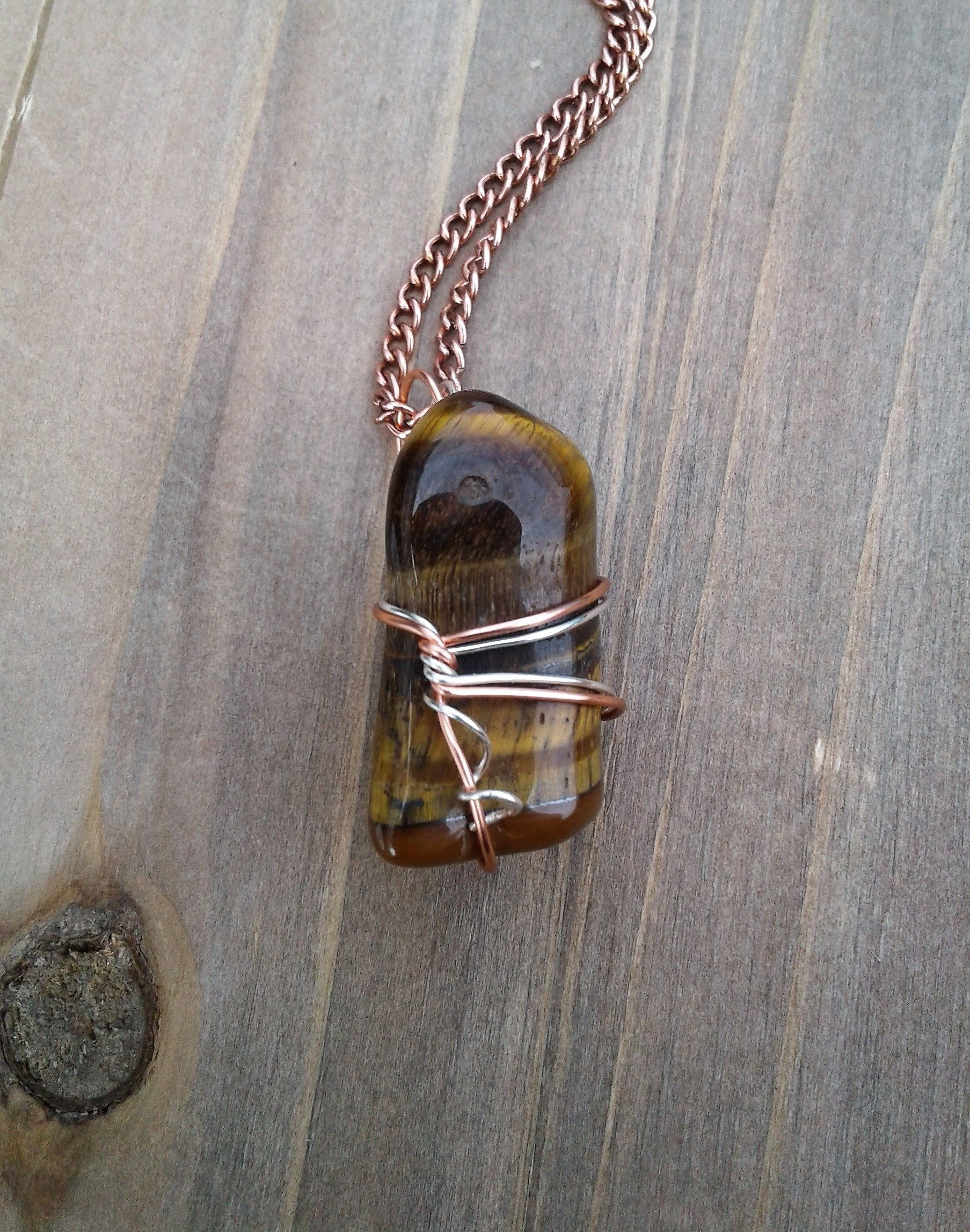Wire Wrapped Tigers Eye Necklace Healing Jewelry Gift Under 20 Birthday For Mom Massage Therapist