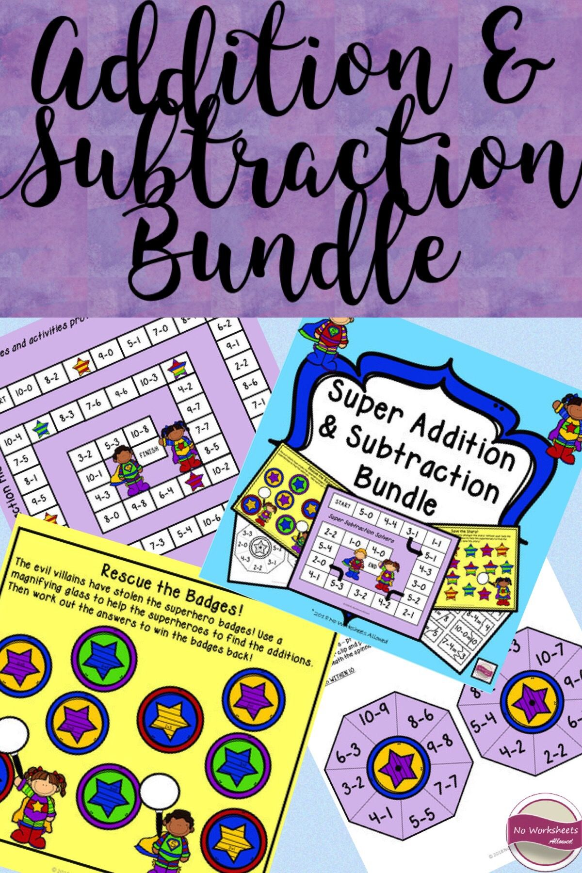 Addition And Subtraction Games Within 10 Superhero Theme