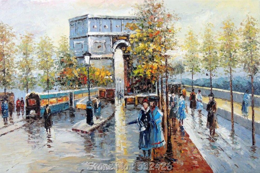 Paris Arc d'triomphe Autumn Trees francés paisaje urbano pintado a mano pintura…