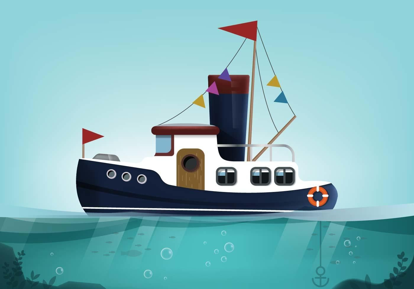 small resolution of tugboat landscape vector
