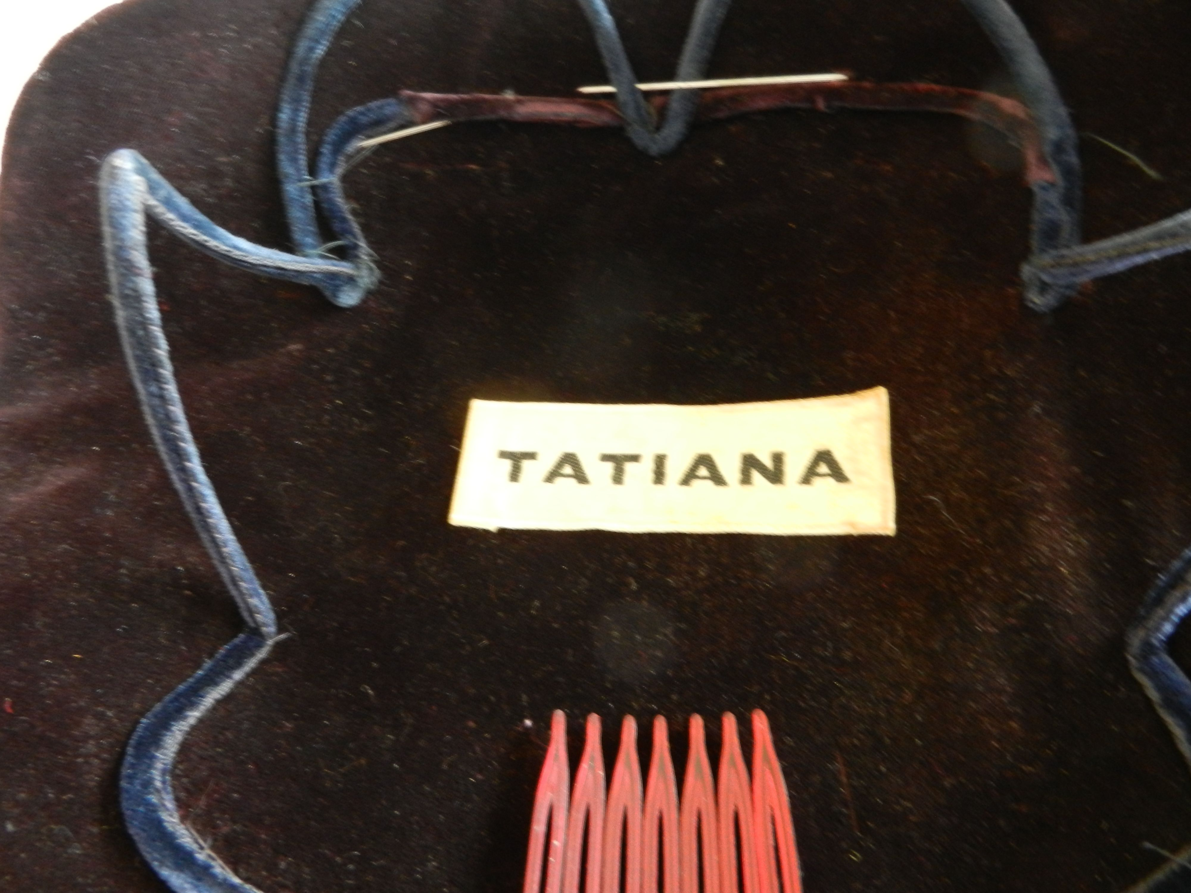 Tatiana eggplant velvet with navy satin accents. Probably 1950s, during her prime as a designer for Saks Fifth Ave. Label