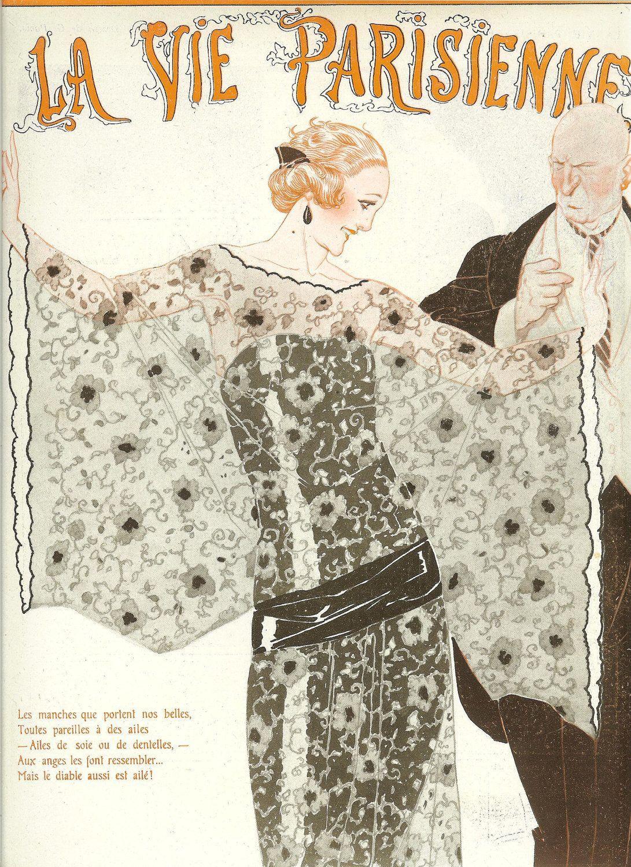 1922 Art Deco French Fashion Magazine Cover Print La Vie