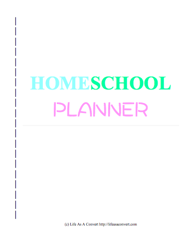 this homeschool planner cover page or title page printable is