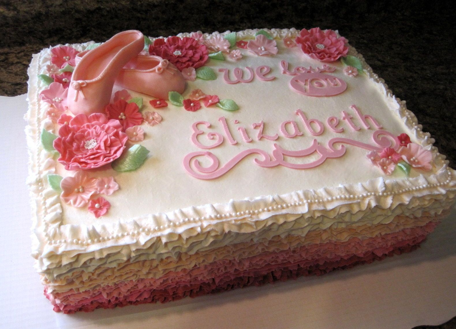 Costco Baby Shower Cakes | Ruffle/Ballet Sheet Cake