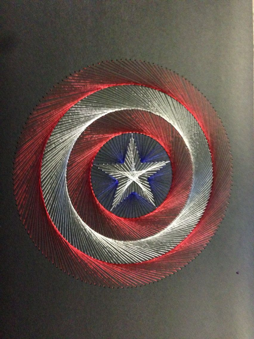 Arte Y Manualidades America Hand Stitched Captain America Shield Logo Hilorama