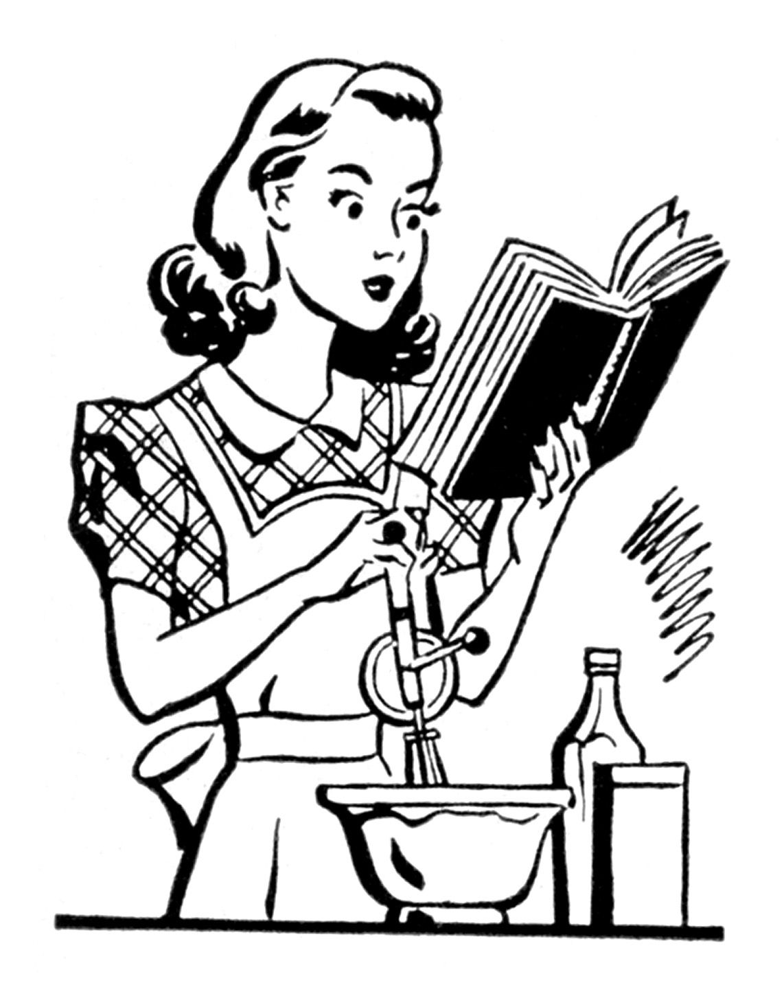 hight resolution of vintage woman cooking clipart