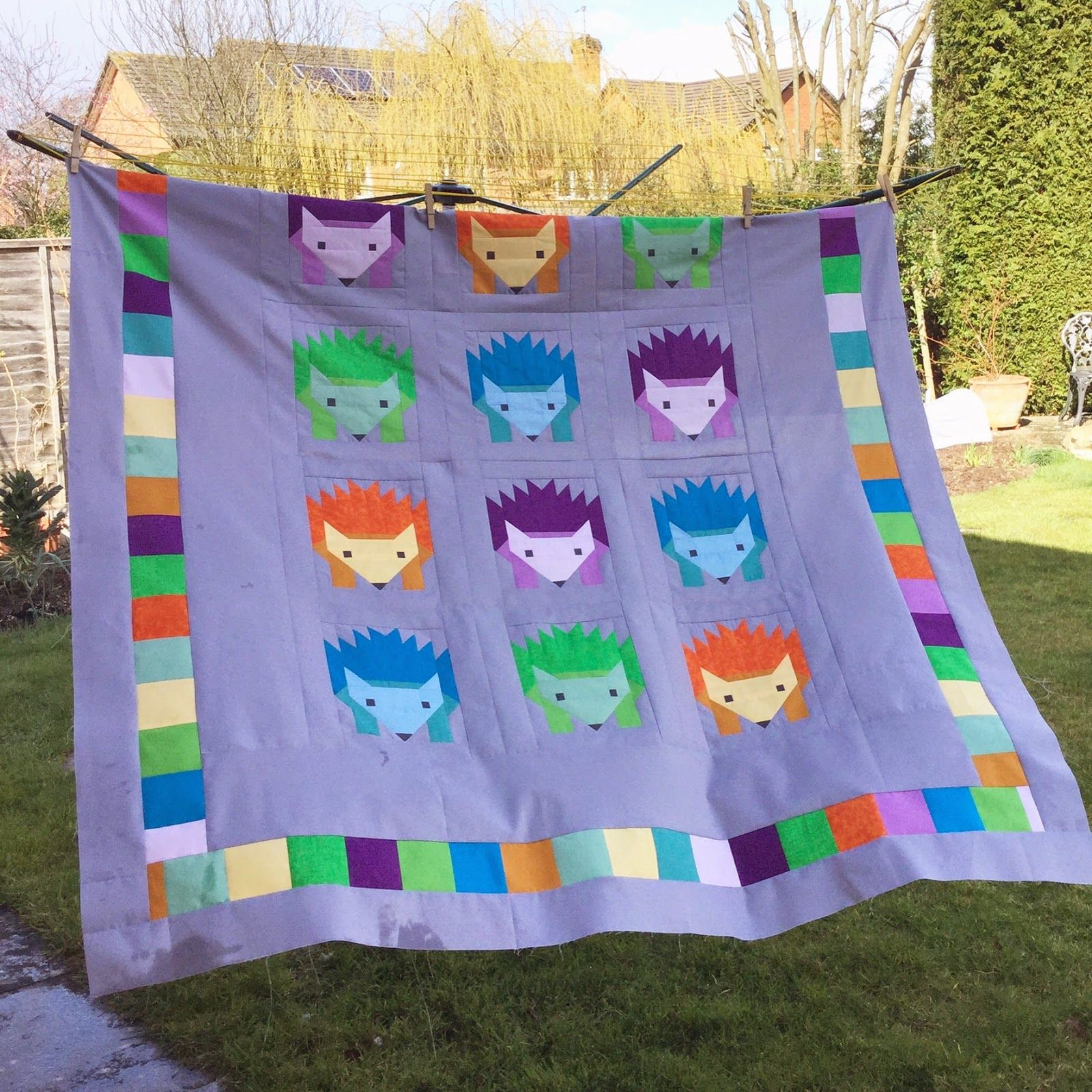 A Prickle of Hedgehogs How to finish a quilt, My design