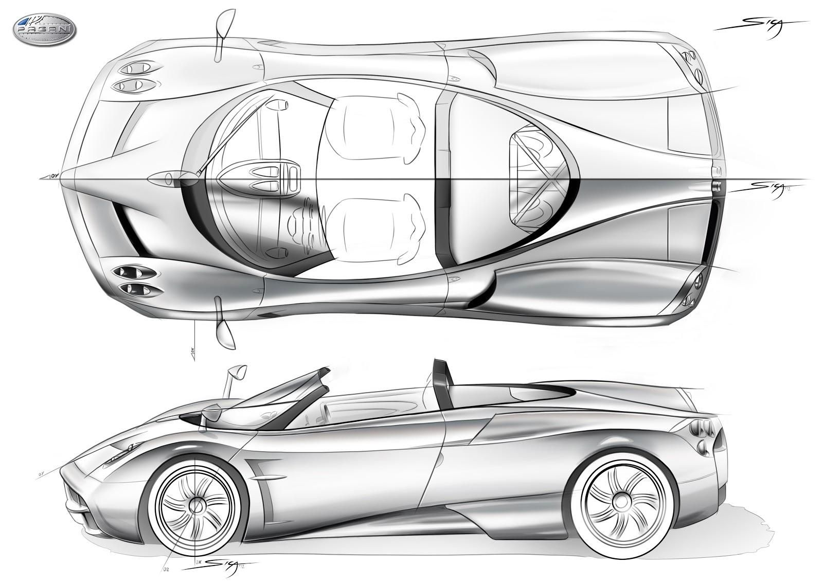 Pagani Huayra Roadster Rendering Sketch Car Design