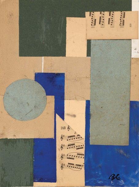 BORIS LACROIX (1902-1984) LA PARTITION DE MUSIQUE Collage de morceaux de journaux, cansons sur carton Monogrammé en bas à gauche et à droite 35 x 25 cm (à vue) - 13.7 x 9.8 in. Approx.