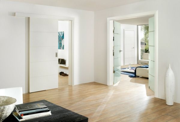Puertas blancas para una casa Puertas correderas