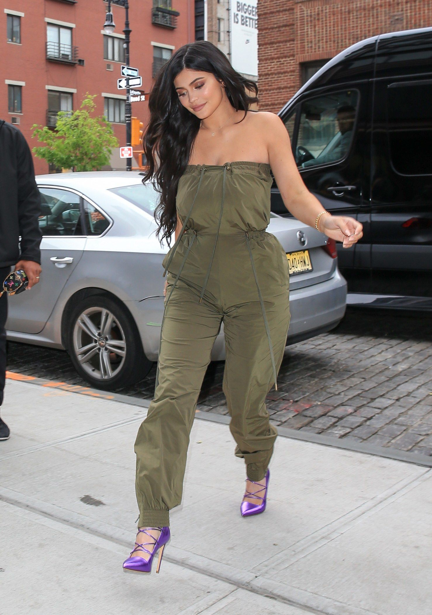 052256bcc16 Kylie Jenner in a Y Project Jumpsuit in New York City.  celebrity  fashion   jumpsuit