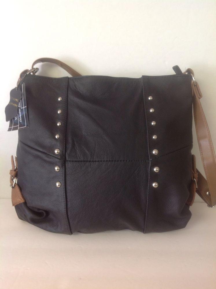 Genuine Leather Messenger Crossbody Bag Black Silver Studs Hip Designer  Fashio  HandCraftedGenuineLeatherLabel  MessengerCrossBody 2cd327443a38a