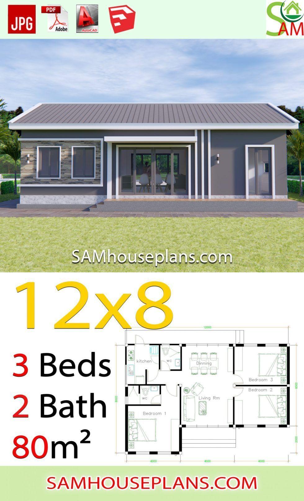 House Plans 12x8 With 3 Bedrooms Gable Roof Sam House Plans 12x8 Bedrooms Gable House Plans Roof Sam Rumah Indah Denah Rumah Rumah