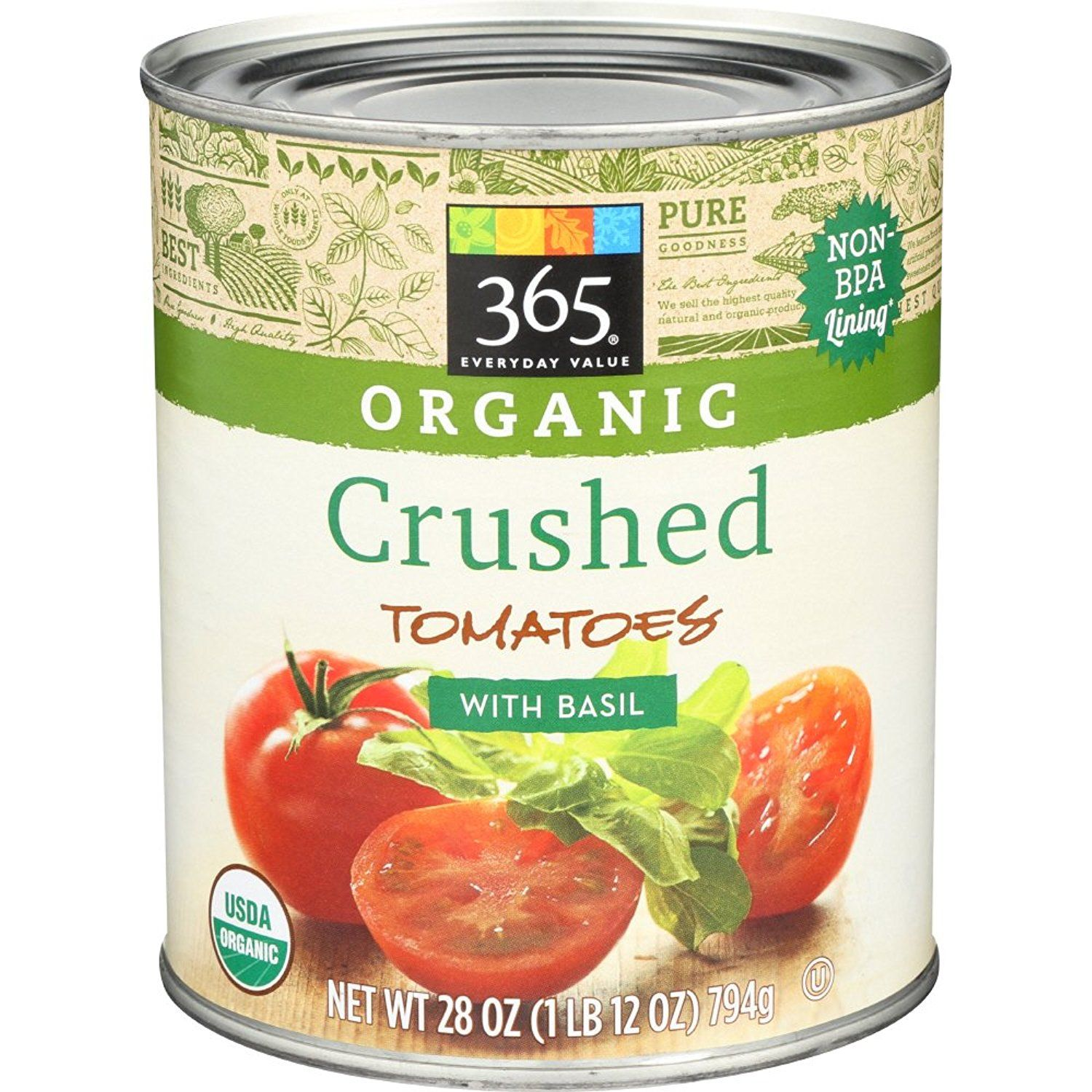 365 Everyday Value Organic Crushed Tomatoes With Basil 28 Ounce