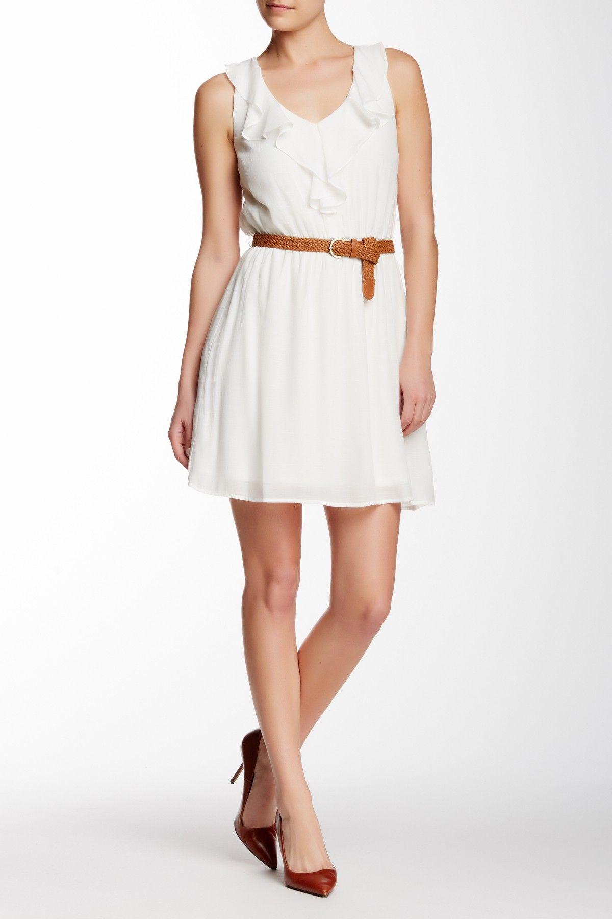 A Byer Yoke Back Cascade Front Dress Dresses White Mini Dress White Dress Winter [ 1800 x 1200 Pixel ]