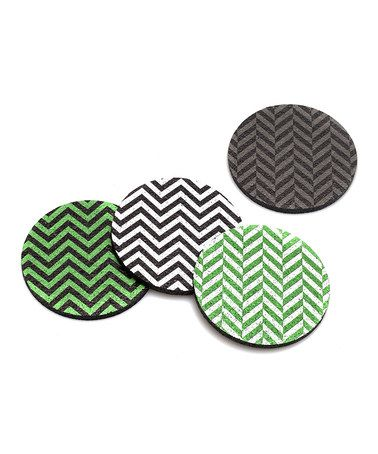 This Chartreuse Zigzag Rubber Coaster Set is perfect! #zulilyfinds