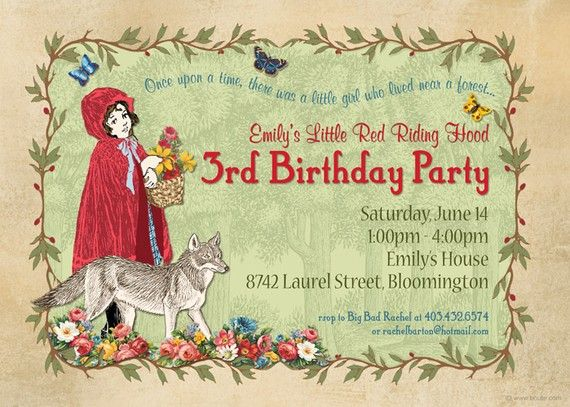 Little Red Riding Hood Party Invitation Retro Vintage Kids Invites Red Riding Hood Party Red Riding Hood Little Red