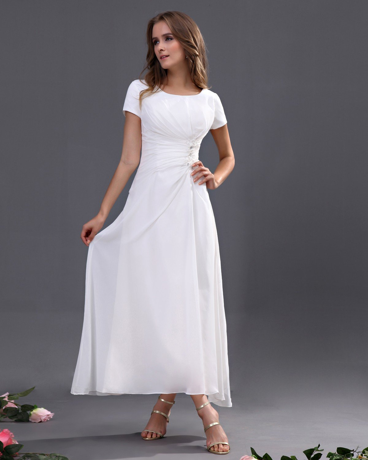 A Line Scoop Ankle Length Chiffon Long Bridesmaid Dresses With Short Sleeves Bridesmaid Dresses Long Chiffon Short Wedding Dress White Bridesmaid Dresses [ 1500 x 1200 Pixel ]