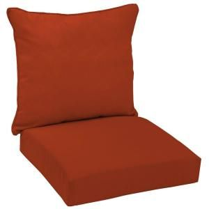 Hampton Bay Chili Red Solid Welted 2 Piece Pillow Back Outdoor