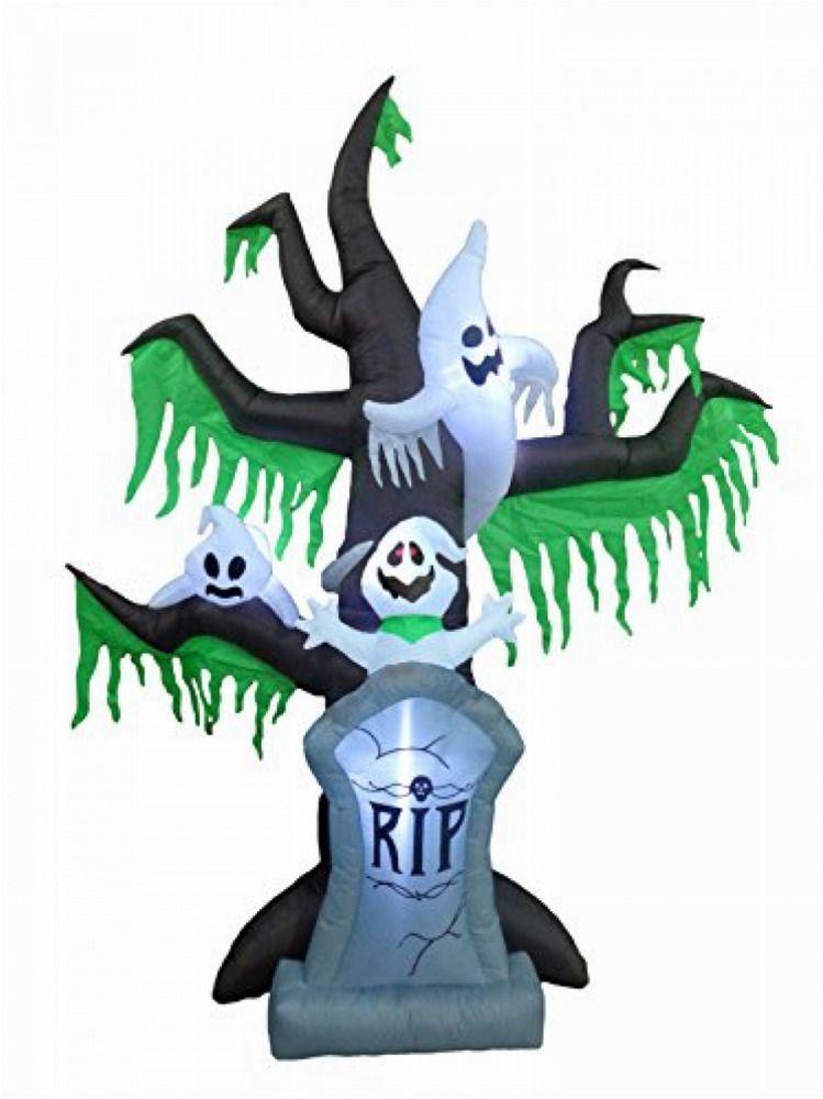 9FT Halloween Inflatable Grave Scene Skeletons Ghosts on Dead Tree - halloween inflatable decorations