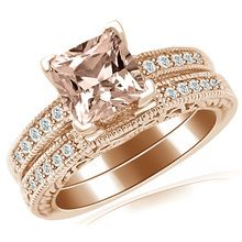 Cushion Peach Pink Morganite Engagement Ring Set Chocolate Diamond Wedding