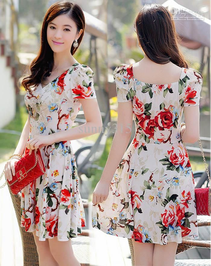 2015 Summer Dresses Women Princess Puff Sleeve Floral Print ...