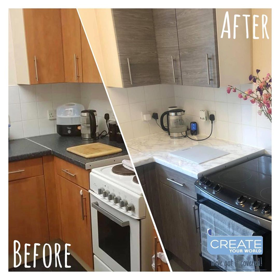 Create Your World Ltd On Instagram Tired Of Your Kitchen Give It A New Look Using Dcfix Vinyl Wra Vinyl Wrap Kitchen Kitchen Vinyl Kitchen Cabinets Wrapped