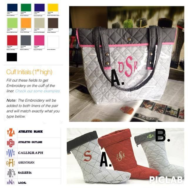 NEW! #TwoAlity is now a one stop shop for #customized #gifts!! Get #BootsByTwoAlity and #TwoAlityTotes embroidered! Locations marked A. are the body of the boot liner and body of the tote. Location B. is the cuff of the boot liner. Be sure to check out all the font styles and thread colors! The possibilities are endless!! ✅ #Monograms