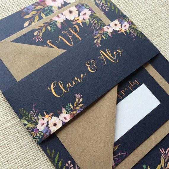 Faire-part de mariage floral Bloom avec RSVP  par NessaNoelle