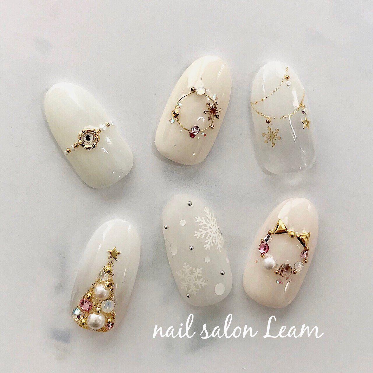 冬/クリスマス/オフィス/デート/ハンド , nail salon Leamの