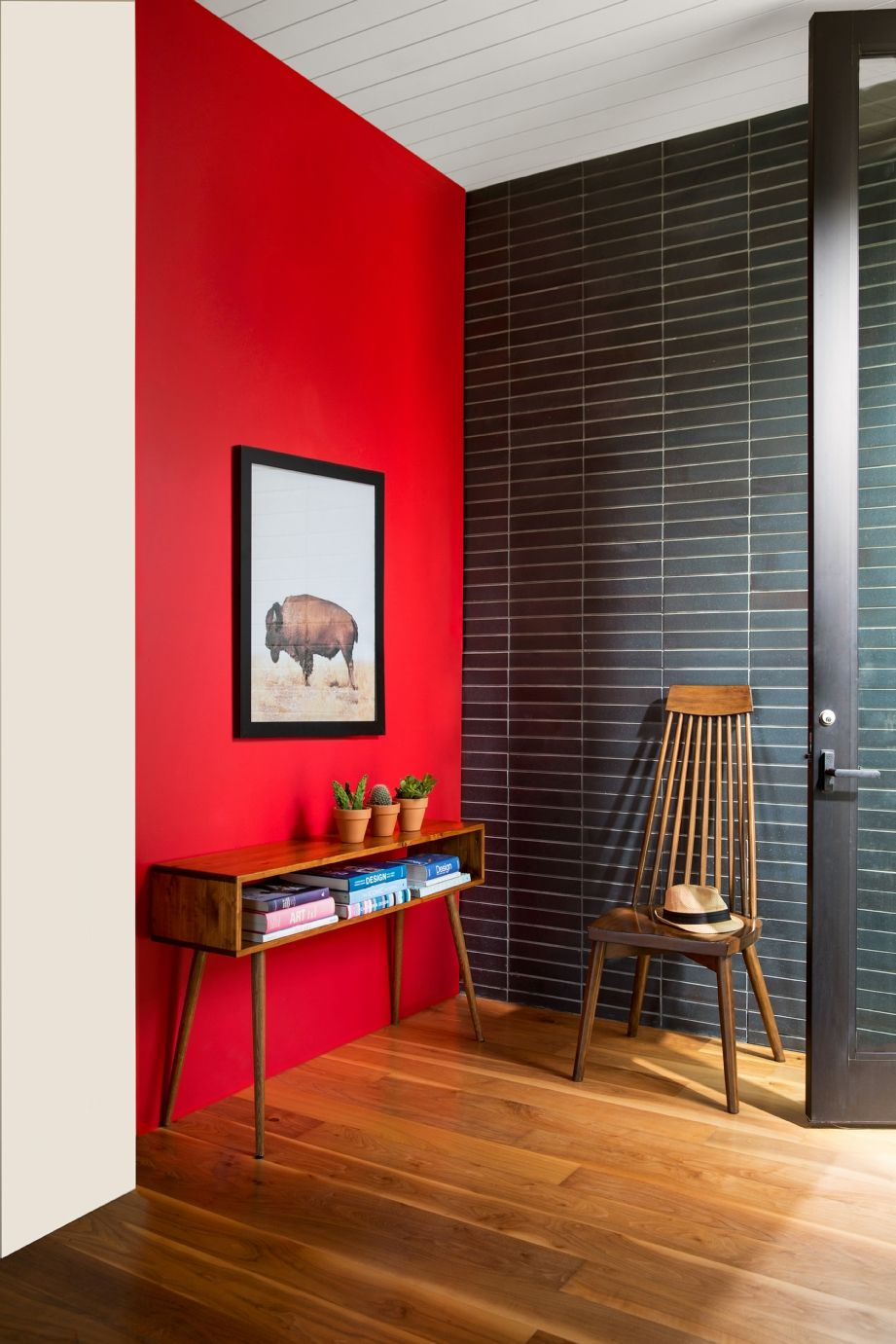 Entryway Color Ideas Inspiration Red Accent Wall Entryway