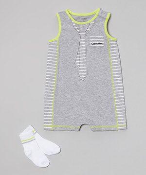 Another great find on #zulily! Calvin Klein Underwear Gray & Neon Green Stripe Sunsuit Romper & Socks by Calvin Klein Underwear #zulilyfinds