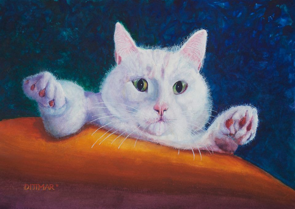 Isn't this cat adorable!? Russel Dittmar Paintings will be at 2014 Excelsior Apple Day.