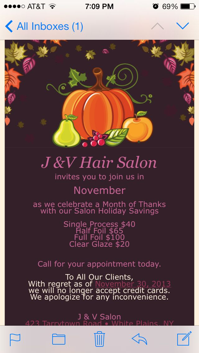 Thanksgiving Salon Special Salon Promotions Holiday Savings Salons