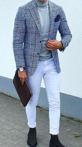 How to Wear a Blue Houndstooth Wool Blazer For Men (2 looks
