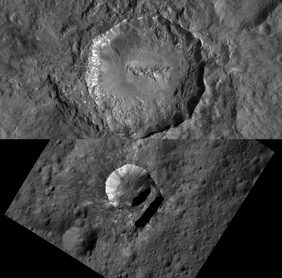 These new images of the Haulani crater and the Oxo crater on dwarf planet Ceres were taken just 240 miles over the planet  thats closer than the @ISS is to Earth. (: @nasa)