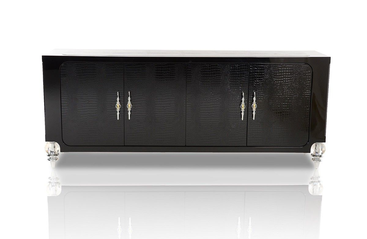 Baccarat Transitional Black Crocodile Lacquer Buffet