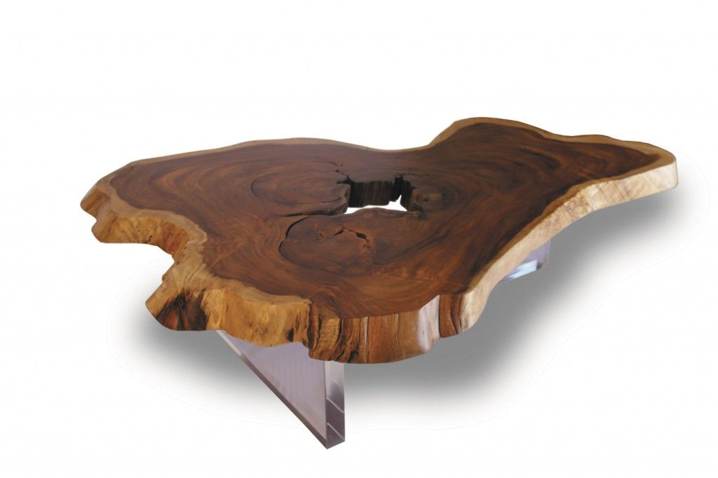 Floating Slab Wood Coffee Table Contemporary Coffee Table