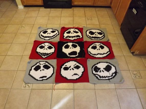 Many Faces of jack Skellington Corchet Graphghan WRITTEN PATTERN ...