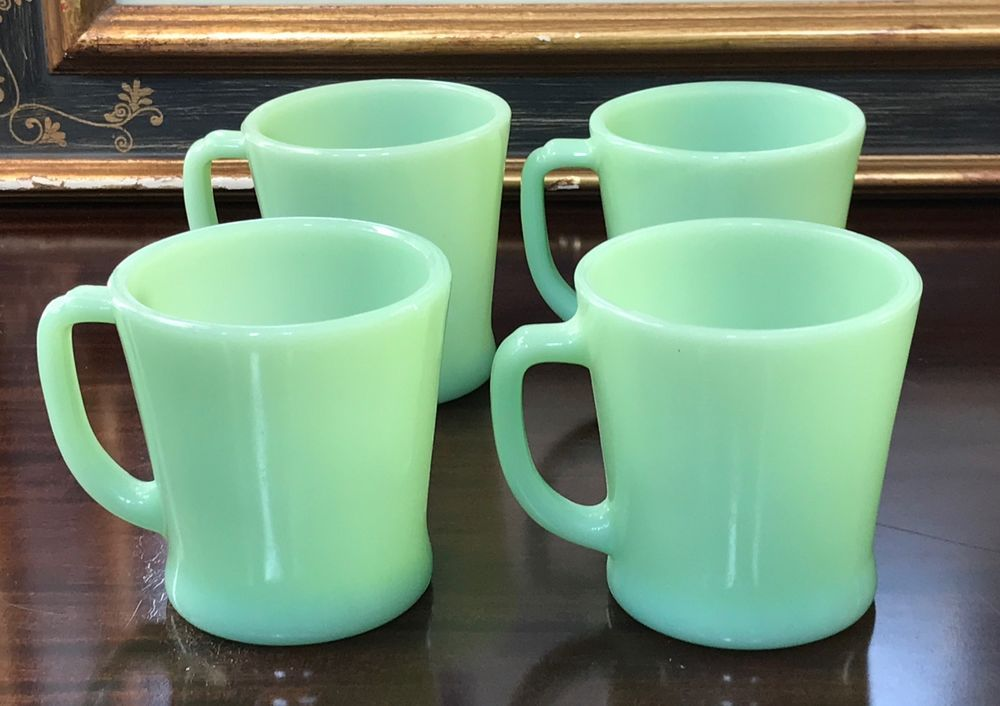 4 Anchor Hocking Fire King Jadeite D Handle Coffee Mugs Cups ...