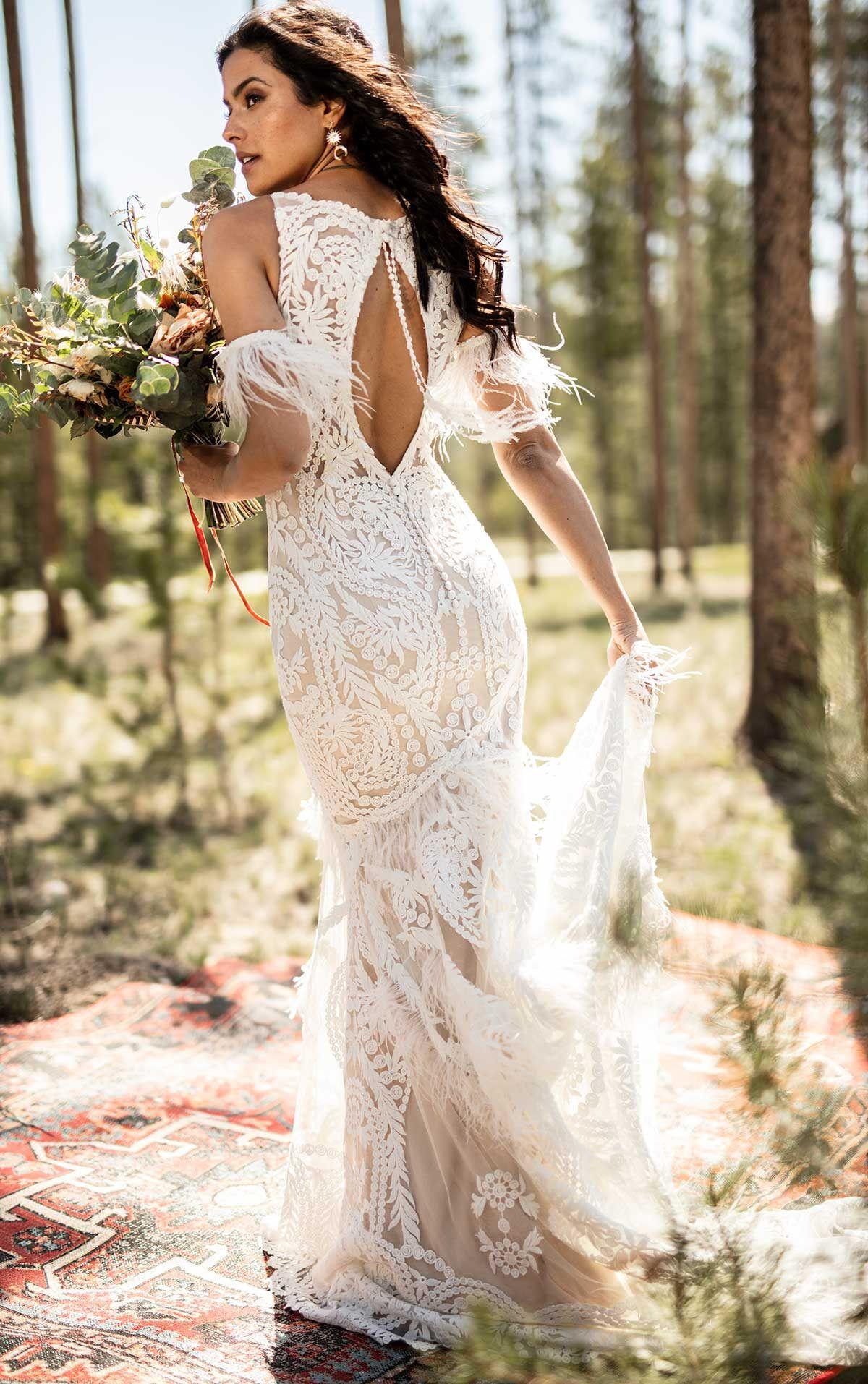 Rowen Wedding Dress All Who Wander Wedding Dress With Feathers Wedding Dresses Summer Wedding Dress [ 1914 x 1200 Pixel ]