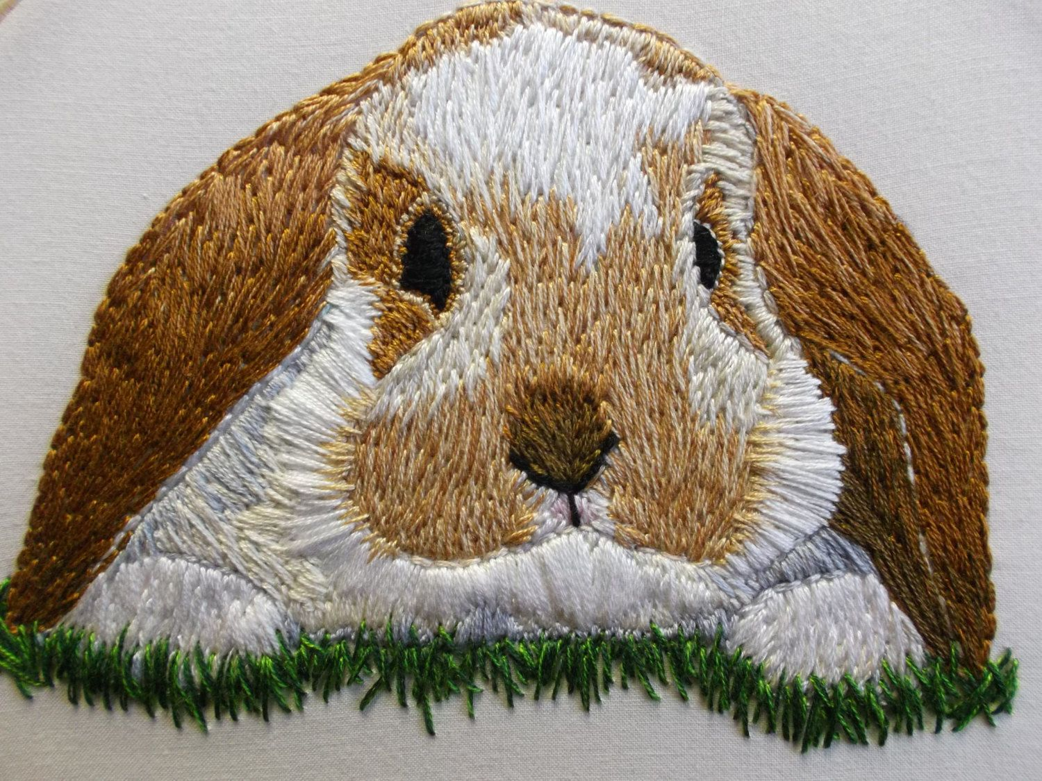 Hand embroidered bunny hoop art embroidery cross