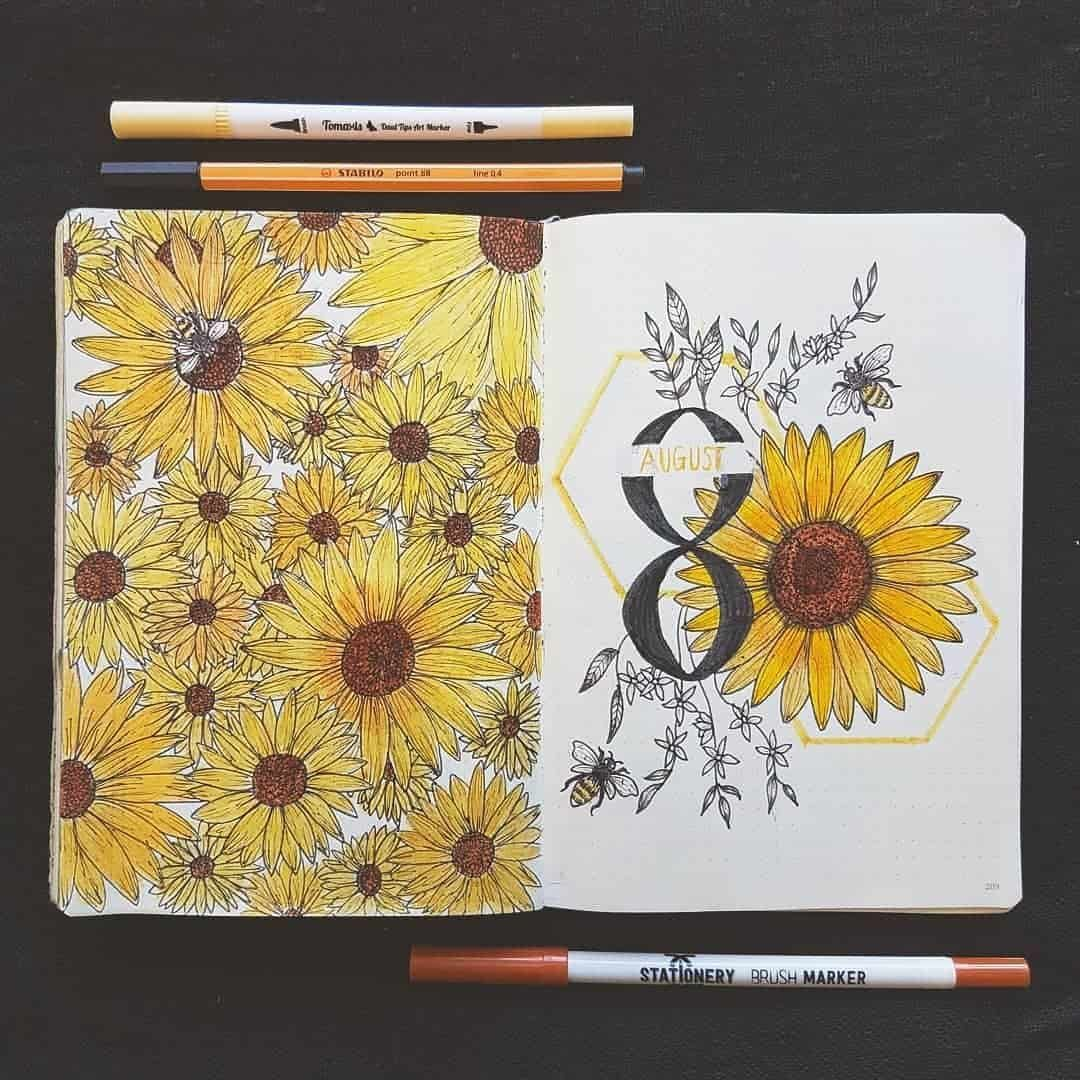 43 Super Sunny Sunflower Bullet Journal Layout Ideas