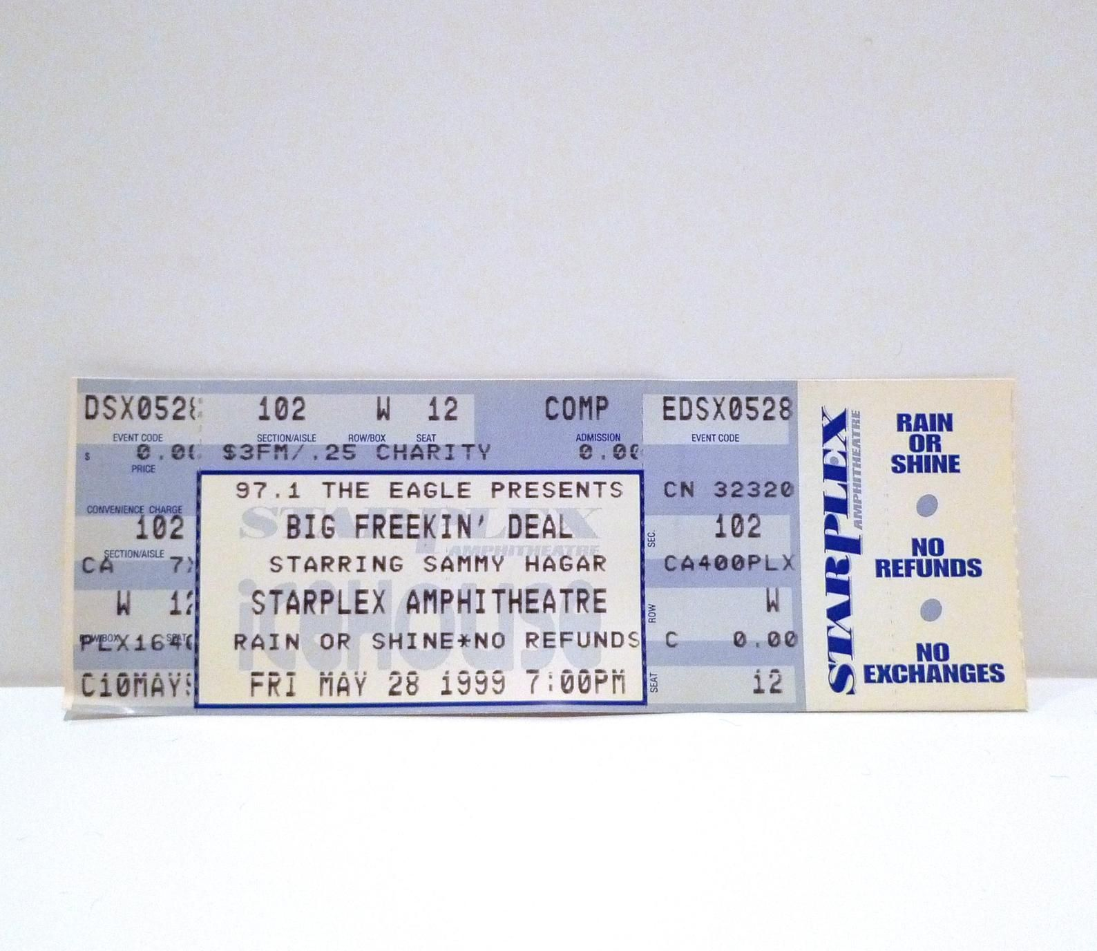 Sammy Hagar Ticket 5 28 99 Big Freekin Deal Tour Dallas Texas Starplex Vintage Never Used Concert Ticket May 28 1999 Mohawk Music In 2020 With Images Record Store Press Kit Dallas